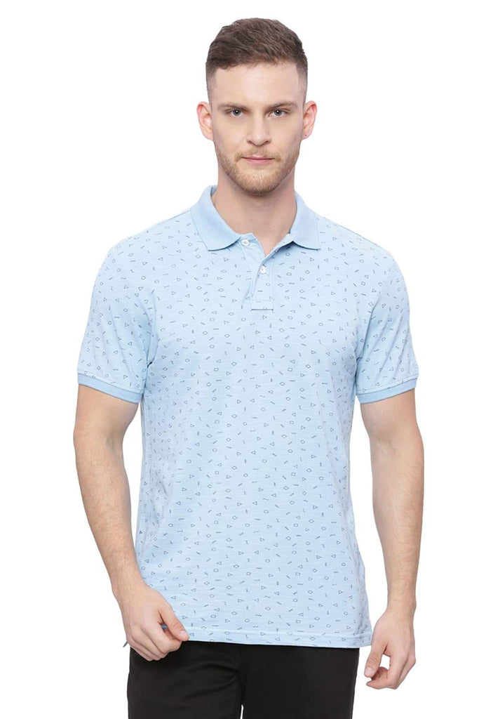 BASICS MUSCLE FIT ANGEL BLUE PRINTED POLO T SHIRT-18BTS37913 (4491089150033)