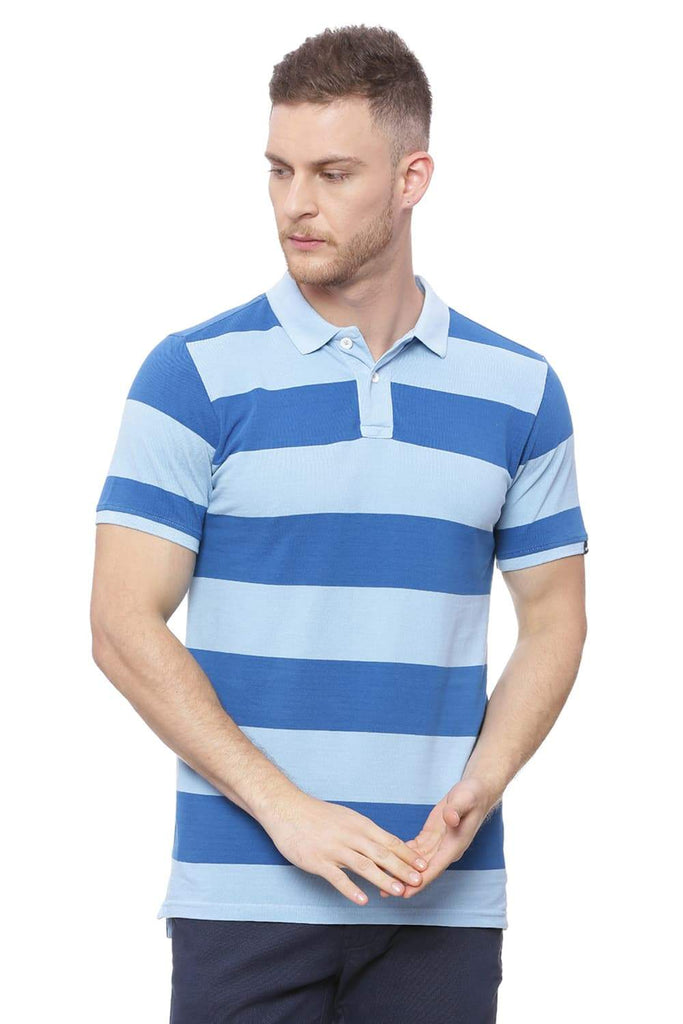 BASICS MUSCLE FIT ANGEL FALLS BLUE POLO T SHIRT-18BTS38255