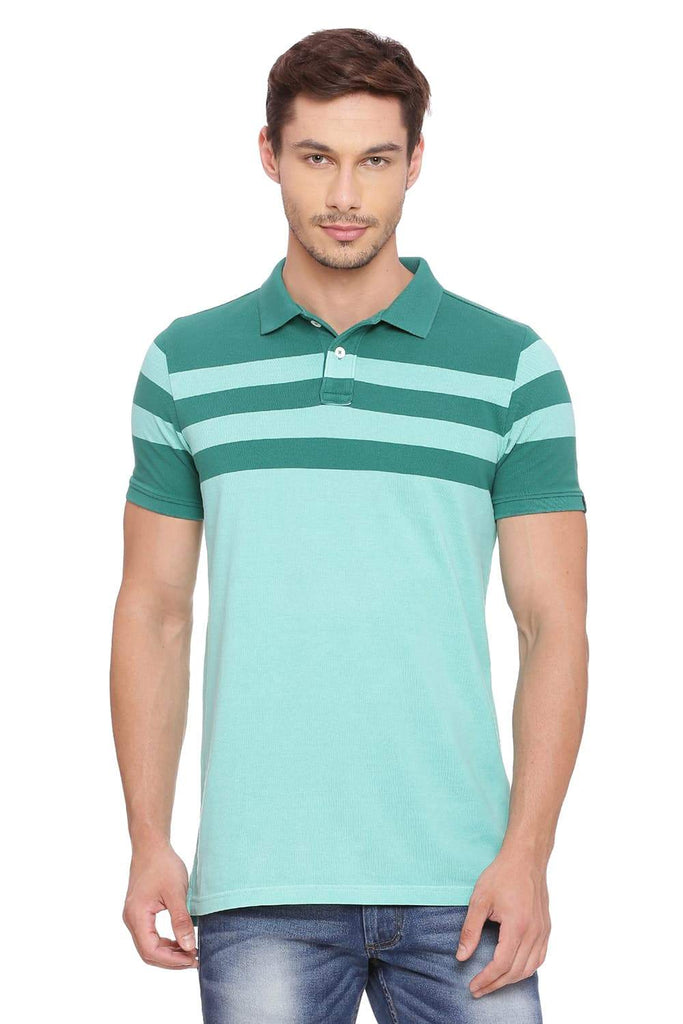 BASICS MUSCLE FIT BERMUDA STRIPES POLO T SHIRT-18BTS39404