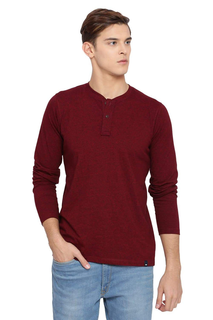 BASICS MUSCLE FIT BIKING RED HENLEY T SHIRT-18BTS39508 (4491546263633)