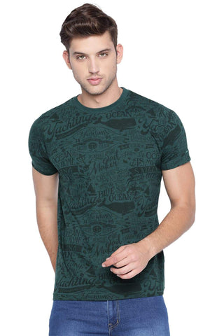 BASICS MUSCLE FIT BISTRO GREEN CREW NECK T SHIRT-19BTS40945 (4491585683537)