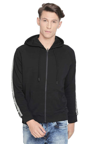 BASICS MUSCLE FIT BLACK BEAUTY RAGLAN HOODED KNIT JACKET-19BJK42685