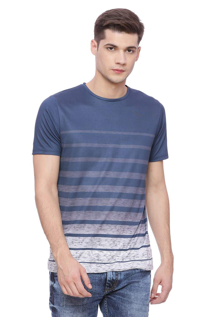 BASICS MUSCLE FIT BLUE GRADIENT CREW NECK T SHIRT-18BTS38005 (4491057463377)