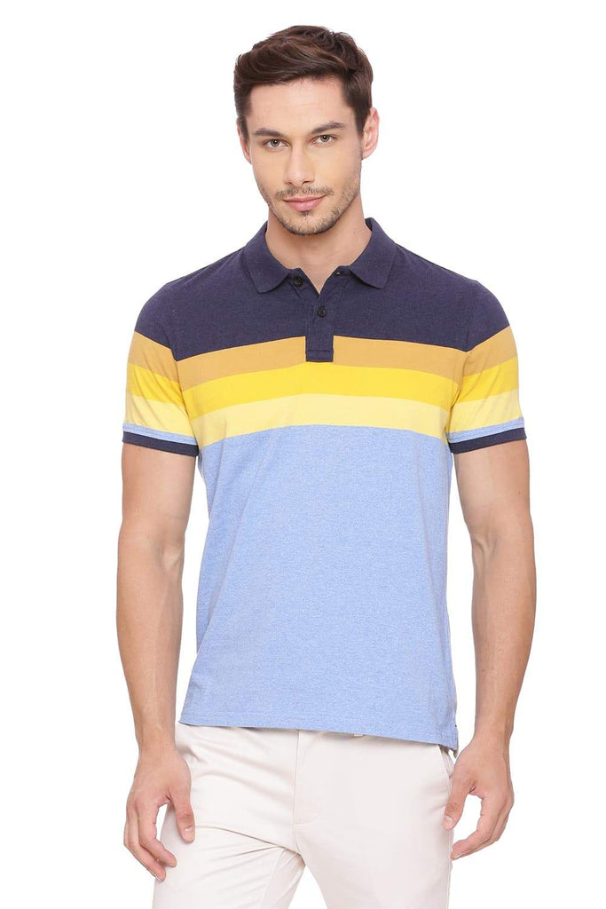 BASICS MUSCLE FIT BLUE HEATHER POLO T SHIRT-18BTS39416 (4491502911569)