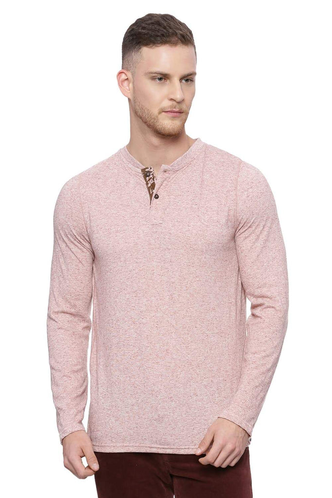 BASICS MUSCLE FIT BOMBAY BROWN HENLEY LONG SLEEVE T SHIRT-18BTS37982 (4491091214417)