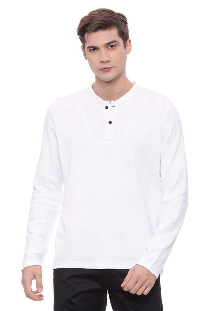 BASICS MUSCLE FIT BRIGHT WHITE HENLEY T SHIRT-18BTS38066