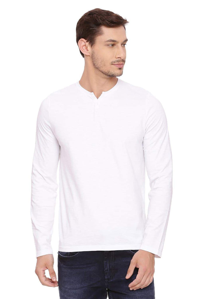 BASICS MUSCLE FIT BRIGHT WHITE HENLEY T SHIRT-18BTS39493 (4491476172881)
