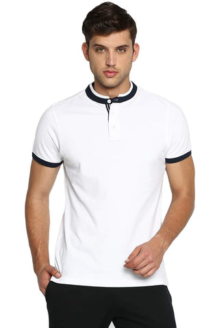 BASICS MUSCLE FIT BRIGHT WHITE STAND UP COLLAR POLO T SHIRT-19BTS40980