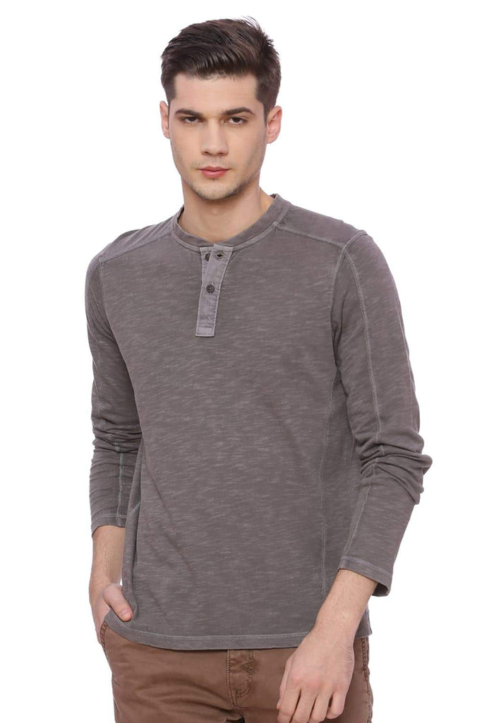 BASICS MUSCLE FIT BRUSHED NICKEL HENLEY T SHIRT-18BTS37857 (4491011522641)