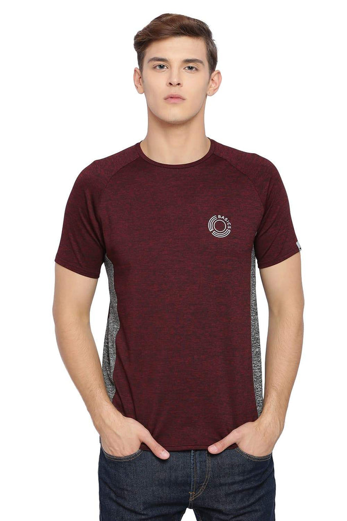 BASICS MUSCLE FIT BURGUNDY CREW NECK T SHIRT-18BTS39680