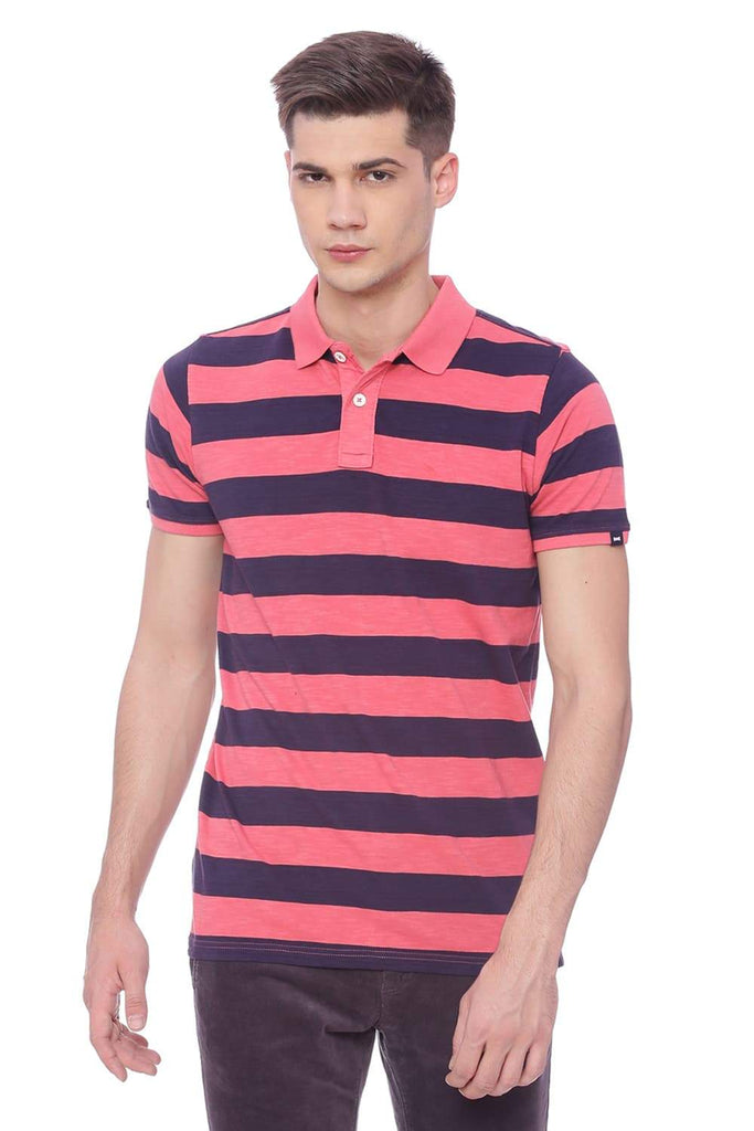 BASICS MUSCLE FIT CALYPSO CORAL  STRIPED RUGBY POLO T SHIRT-18BTS37880