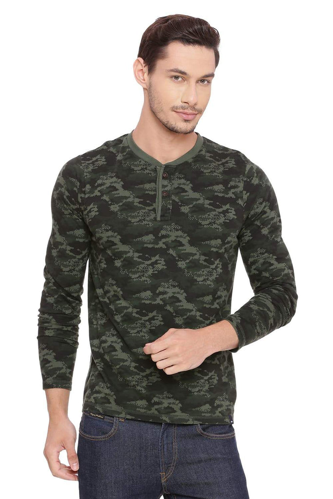 BASICS MUSCLE FIT CAMO FOREST HENLEY T SHIRT-18BTS39367 (4491410636881)
