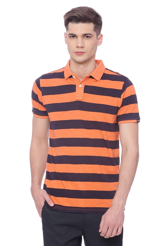 BASICS MUSCLE FIT CARROT  STRIPED RUGBY POLO T SHIRT-18BTS37881 (4491088756817)
