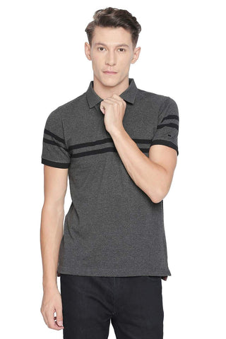 BASICS MUSCLE FIT CASTLEROCK ENGINEERED STRIPE POLO T SHIRT-19BTS42629 (4491617501265)