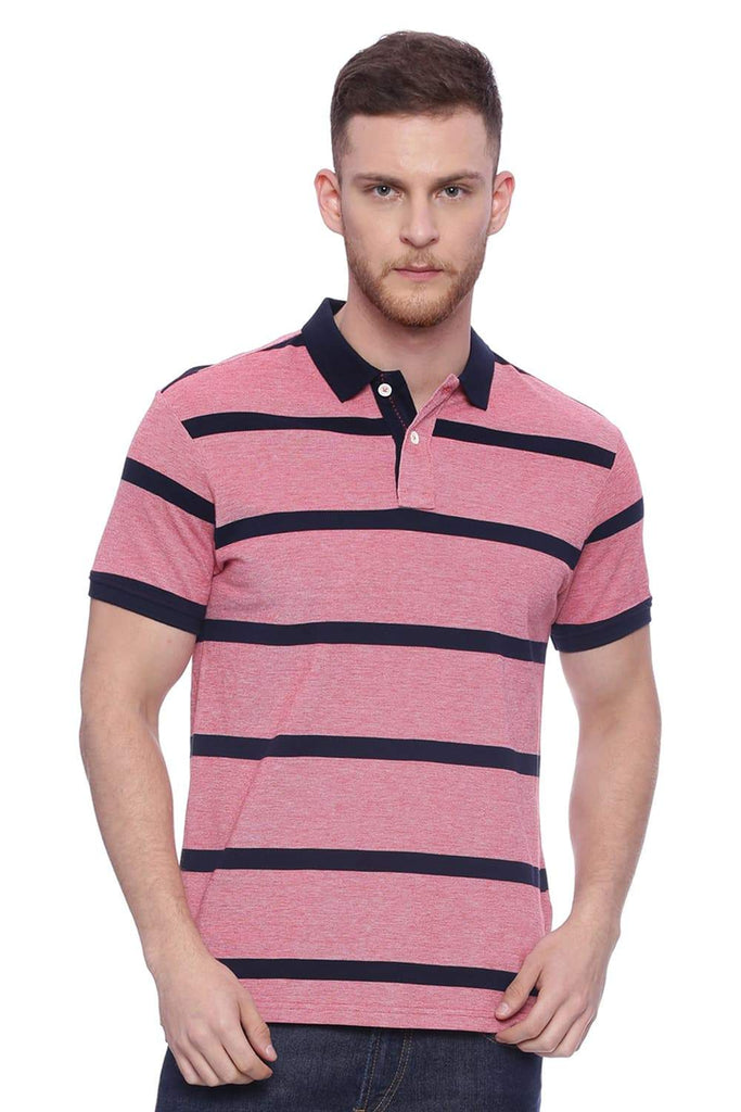 BASICS MUSCLE FIT CHAMBRAY RED STRIPED RUGBY POLO T SHIRT-18BTS37945 (4491017715793)