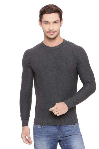BASICS MUSCLE FIT CHARCOAL HEATHER CREW NECK SWEATER-18BSW39789 (4491258822737)