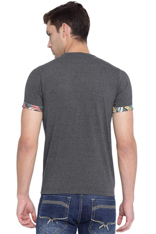 BASICS MUSCLE FIT CHARCOAL HEATHER CREW NECK T SHIRT-19BTS41032 (4491589189713)