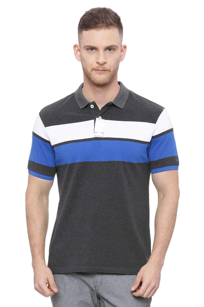 BASICS MUSCLE FIT CHARCOAL HEATHER POLO T SHIRT-18BTS37950 (4491090591825)
