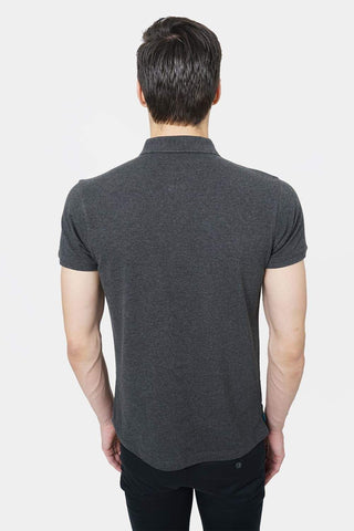 BASICS MUSCLE FIT CHARCOAL HEATHER POLO T.SHIRT-18BTS41526 (4491514708049)