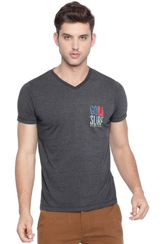 BASICS MUSCLE FIT CHARCOAL HEATHER V NECK T SHIRT-19BTS40918 (4491565563985)