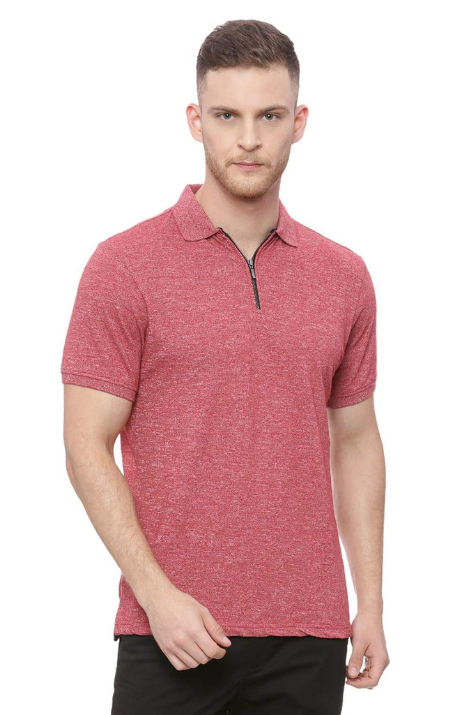 BASICS MUSCLE FIT CHILLI PEPPER RED POLO T SHIRT-18BTS37917 (4491089248337)
