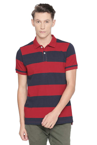 BASICS MUSCLE FIT CHILLI PEPPER STRIPED POLO T SHIRT-19BTS42577 (4491703320657)