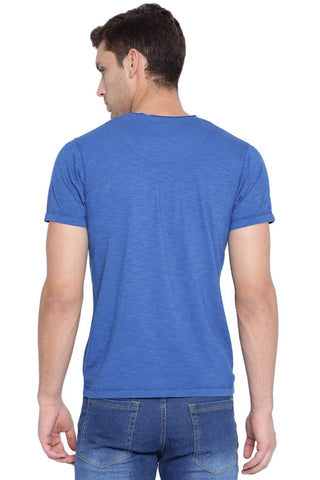 BASICS MUSCLE FIT CLASSIC BLUE V NECK T SHIRT-19BTS41024 (4491588698193)
