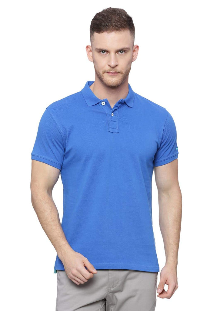 BASICS MUSCLE FIT COBALT BLUE POLO T SHIRT-18BTS38410 (4491022925905)