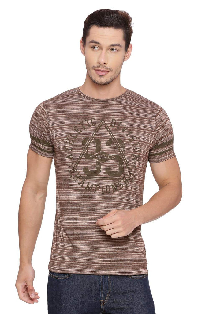Basics Muscle Fit Coffee Liquor Crew Neck T-shirt Front