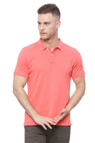 BASICS MUSCLE FIT CORAL POLO T SHIRT-18BTS41521 (4491508121681)