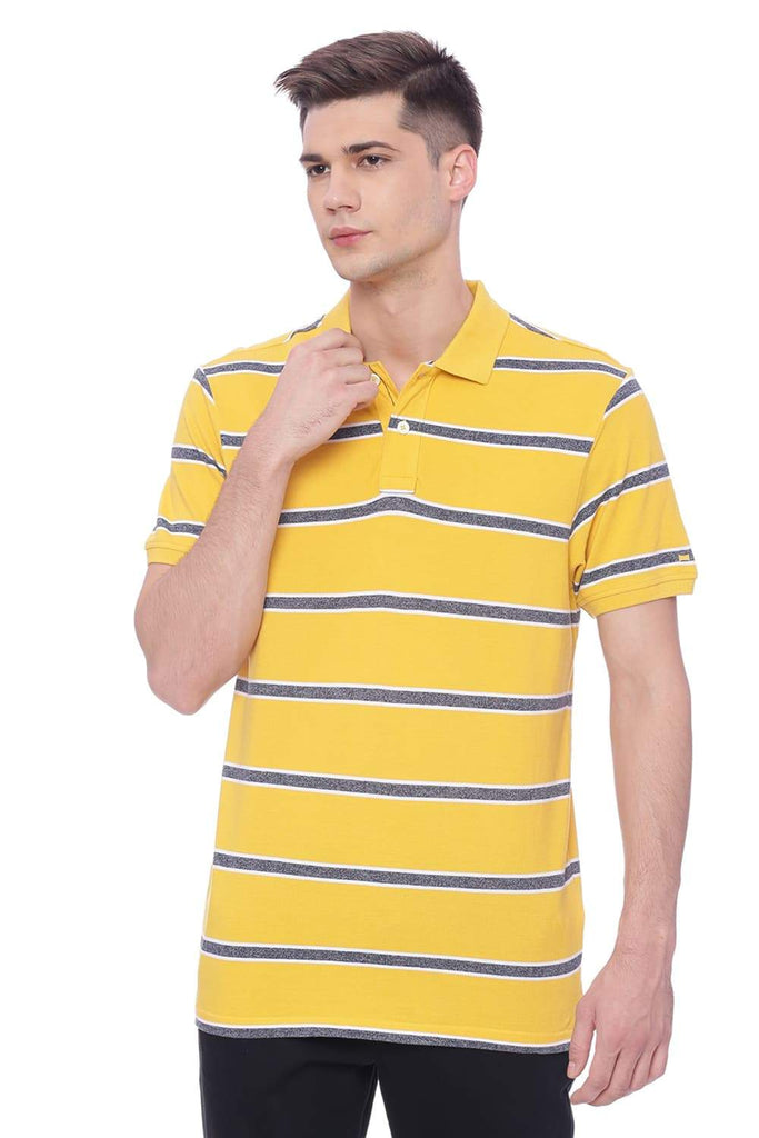 BASICS MUSCLE FIT DAFFODIL YELLOW POLO T SHIRT-18BTS37933 (4491089772625)