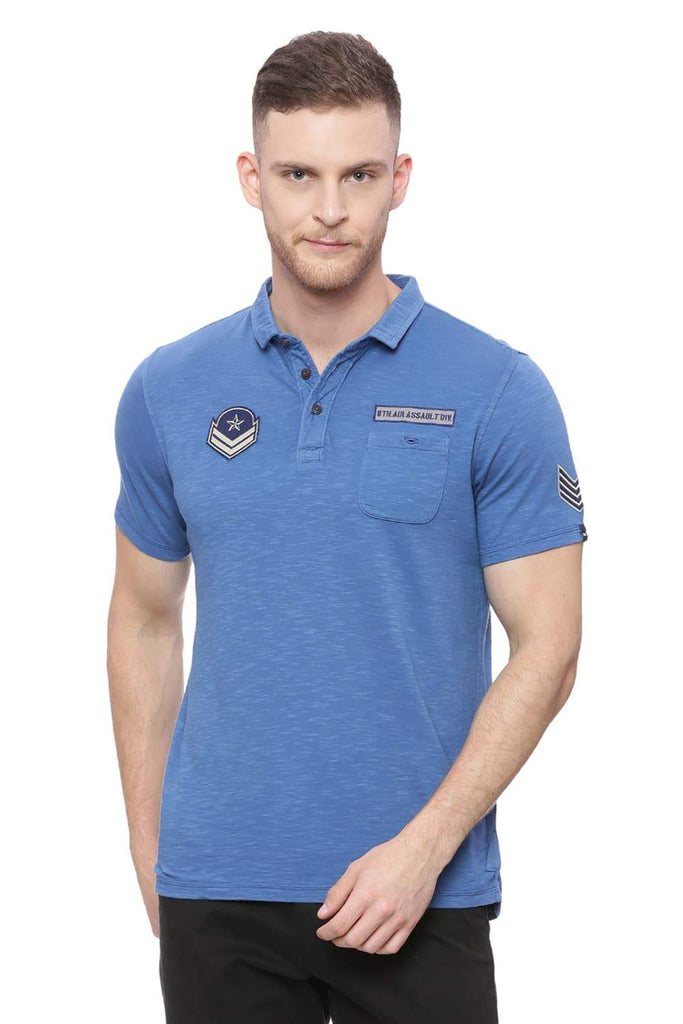 BASICS MUSCLE FIT DARK BLUE POLO T SHIRT-18BTS37834