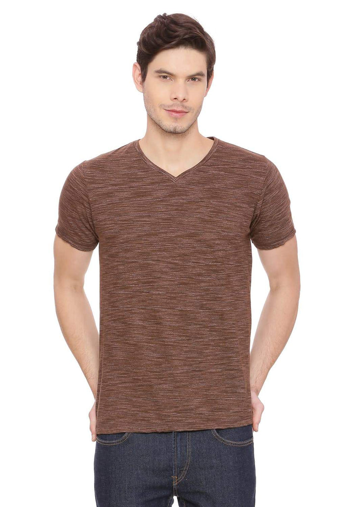 BASICS MUSCLE FIT DARK EARTH V NECK T SHIRT-18BTS39482 (4491467718737)