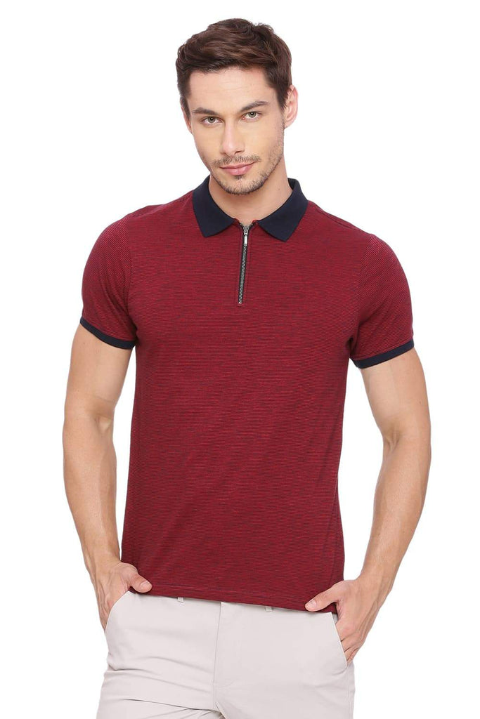 BASICS MUSCLE FIT DARK RED POLO T SHIRT-18BTS39411 (4491498356817)