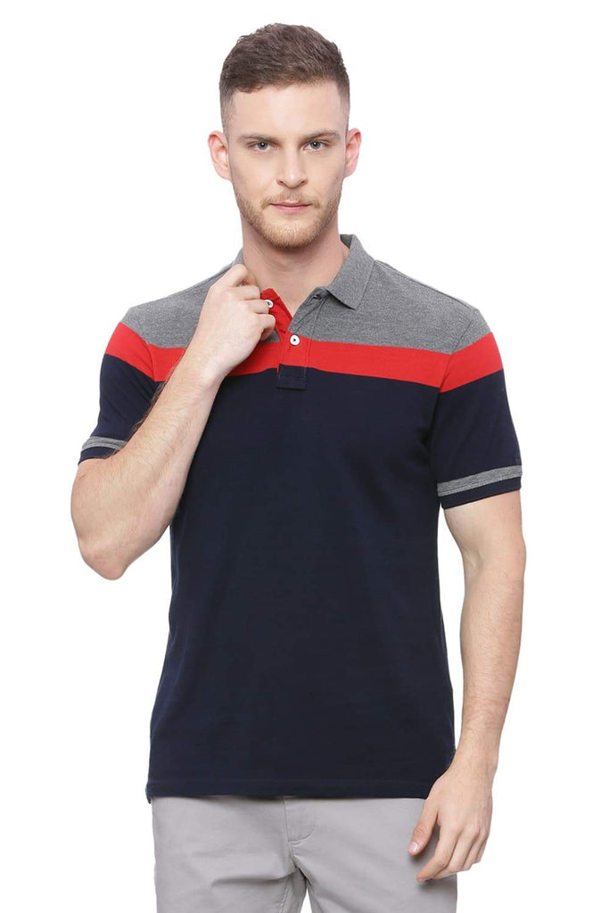 BASICS MUSCLE FIT DEEP NAVY STRIPE POLO T SHIRT-18BTS37929 (4491015979089)