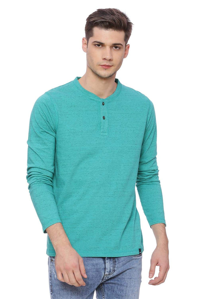 BASICS MUSCLE FIT DEEP SEA GREEN HENLEY T SHIRT-18BTS37827 (4491086790737)