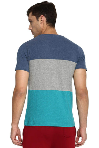 BASICS MUSCLE FIT DELFT HEATHER V NECK T SHIRT-19BTS41021 (4491596005457)