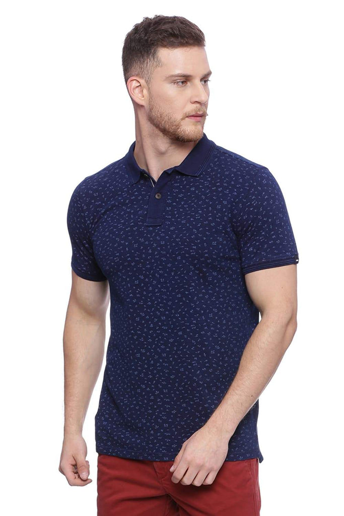 BASICS MUSCLE FIT DENIM BLUE PRINTED POLO T SHIRT-18BTS37864 (4491055956049)