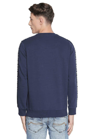 BASICS MUSCLE FIT DRESS BLUE CREW NECK PULLOVER KNIT JACKET-19BJK42665