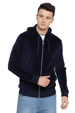 BASICS MUSCLE FIT DRESS BLUE HOOD KNIT JACKET-18BJK39711 (4491542986833)