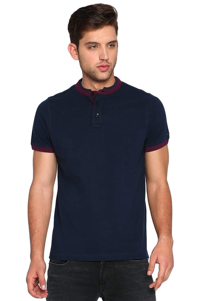 BASICS MUSCLE FIT DRESS BLUE STAND UP COLLAR POLO T SHIRT-19BTS40981 (4491587027025)