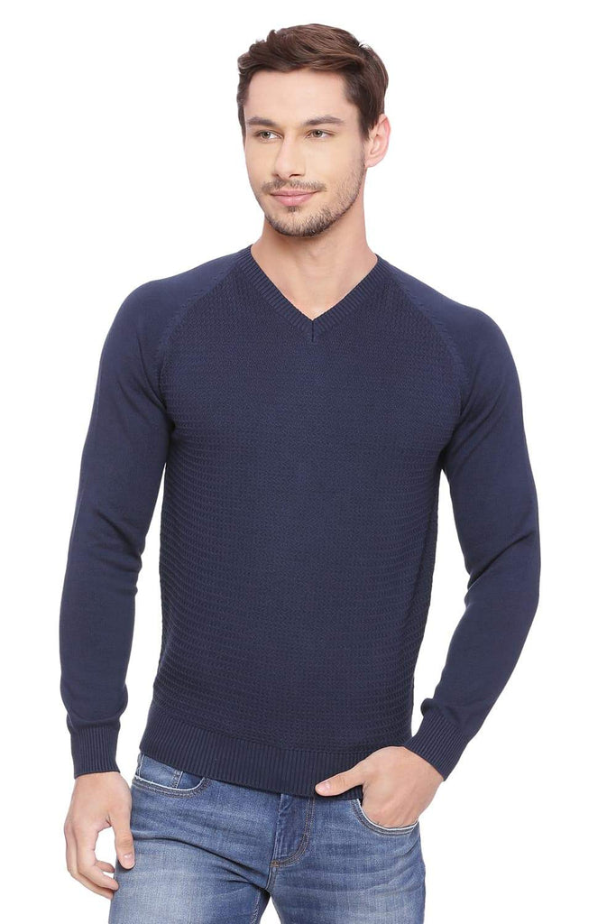 BASICS MUSCLE FIT DRESS NAVY V NECK SWEATER-18BSW39791 (4491261608017)