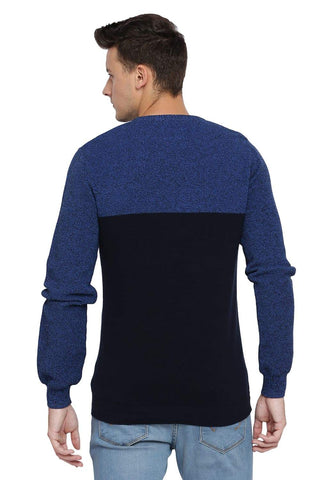 BASICS MUSCLE FIT DRESS NAVY V NECK SWEATER-18BSW39792 (4491545116753)