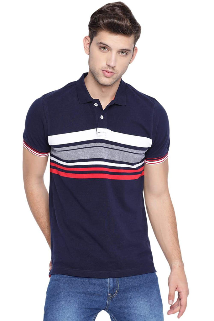 BASICS MUSCLE FIT ECLIPSE NAVY POLO STRIPE T SHIRT-19BTS40991 (4491595350097)