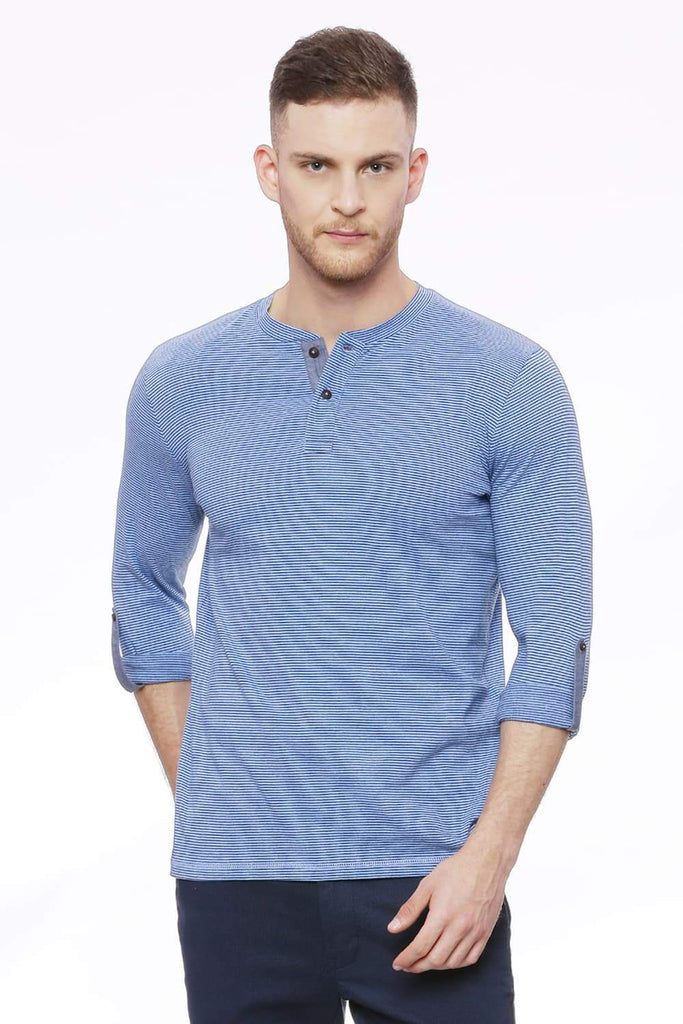 Basics Muscle Fit Estate Blue T-Shirt Front