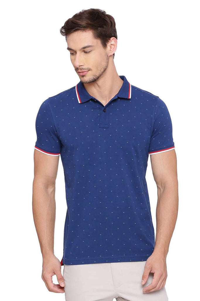 BASICS MUSCLE FIT ESTATE BLUE PRINTED POLO T SHIRT-18BTS39391 (4491422367825)