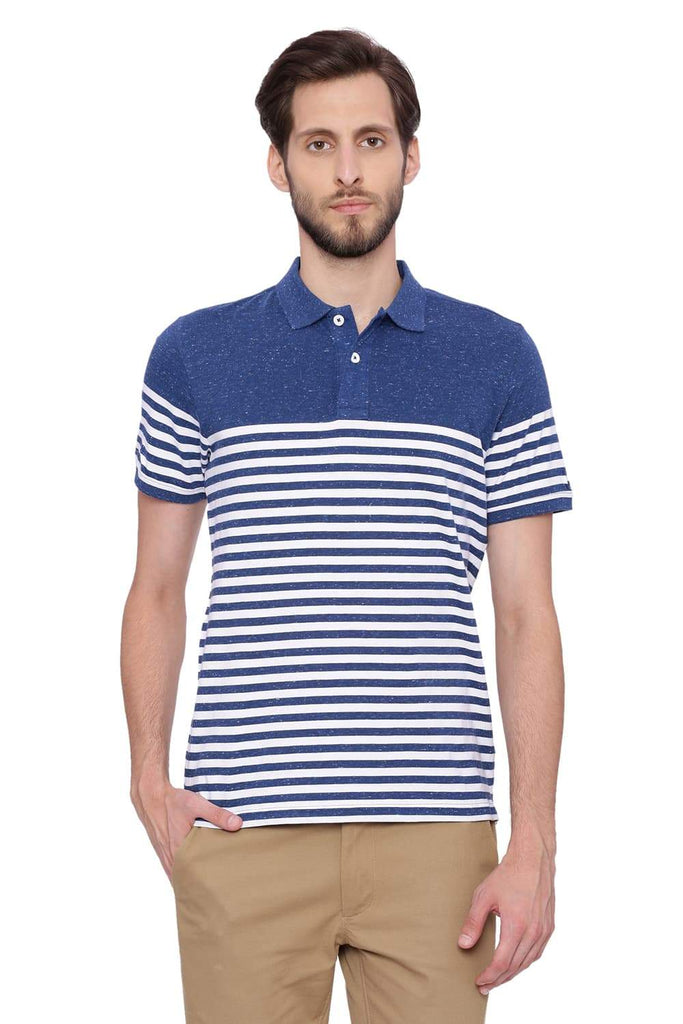 BASICS MUSCLE FIT ESTATE BLUE STRIPED POLO T SHIRT-18BTS39433 (4491447992401)