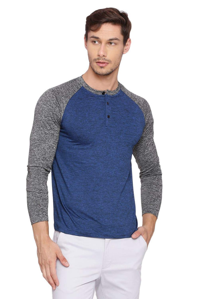 BASICS MUSCLE FIT FEDERAL BLUE HENLEY T SHIRT-18BTS39530 (4491490132049)