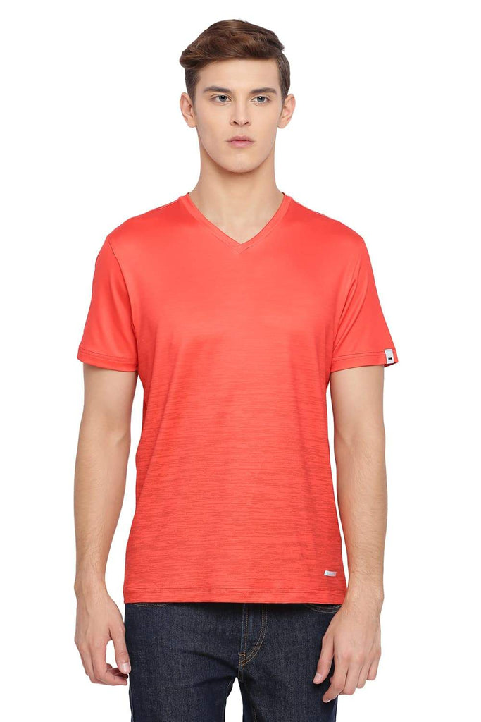 BASICS MUSCLE FIT FLAME ORANGE V NECK T SHIRT-18BTS39518 (4491546591313)