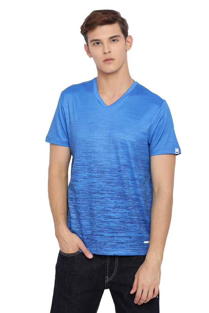 Basics Muscle Fit French Blue V Neck T-shirt Front